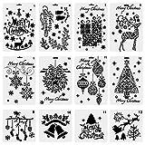 Whaline 12pcs Noël Dessin Peinture Pochoirs Échelle Modèle Définit, la Fabrication de Cartes du Corps Humain, Peinture, Bibelots (De noël)