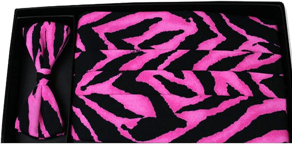 Hot Pink Animal Print Bow Tie and Cummerbund Set