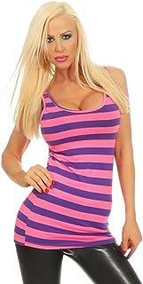 Fashion4Young 10157 Women's Top Shirt Mini Dress Long Top Striped Basic Block Stripes