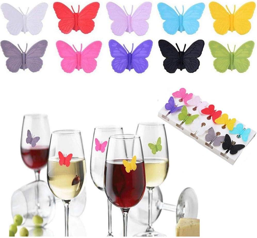 Gsyamh Marcadores De Copas De Vino Reutilizables Marcador De Vidrio Bebida De Vino De Silicona Encantos De Copa De Vino Marcadores Hermosa Decoración De Mariposas, Adecuada para Fiesta Bar Fiesta