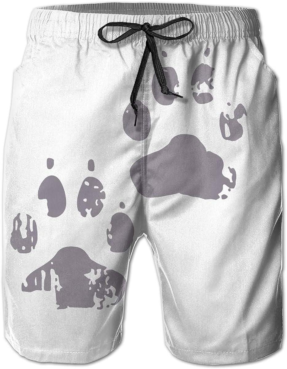 HZamora_H Mens Dog Paw Print Summer Breathable Quick-Drying Swim Trunks Beach Shorts Board Shorts XL