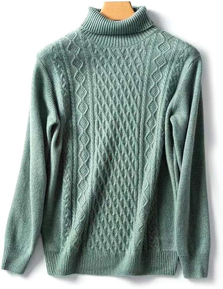 TPBOR Turtleneck Sweater Pullover Men's 100% Pure Cashmere Sweaters for Men's Round Neck Pullover New Flower Shape
