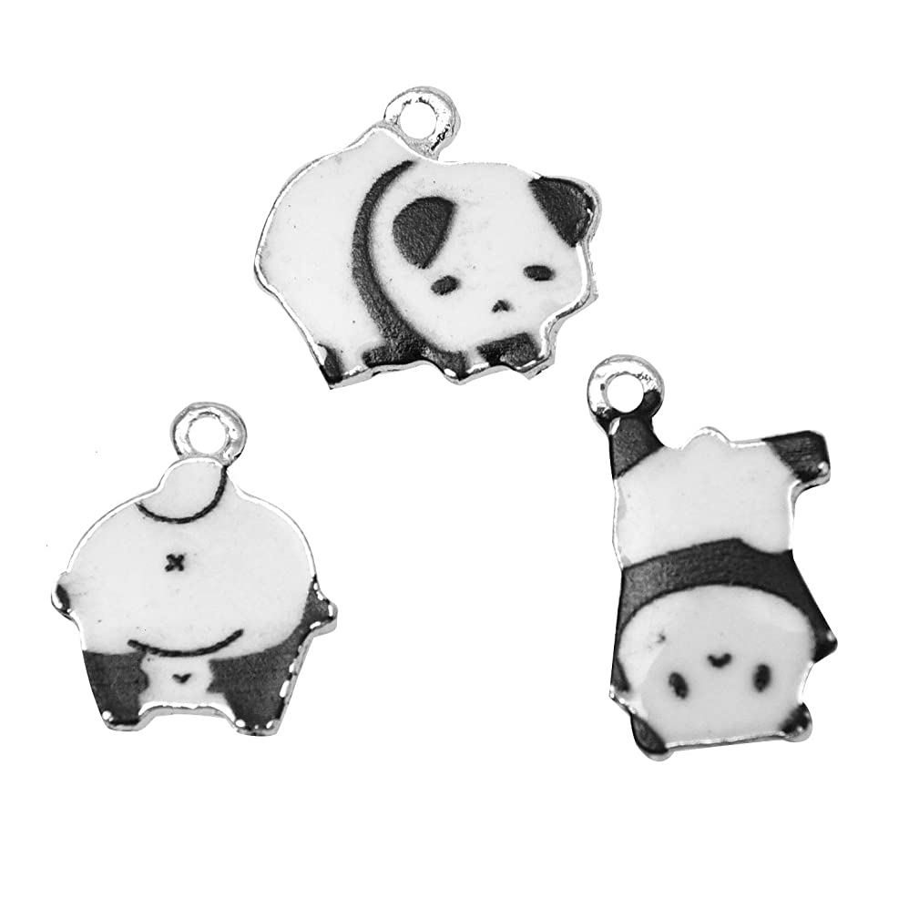 Monrocco 30 Pieces Enamel Panda Charms for Pendant DIY Jewelry Necklace Stud Earrings Making