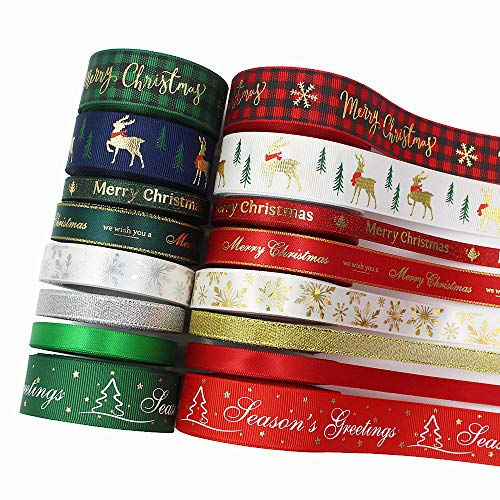 Christmas Ribbons for Craft Holiday Printed Grosgrain Satin Ribbons 3/8'' 5/8'' 1'' in Width Metallic Glitter Fabric Ribbons Bulk Gift Wrapping Bow