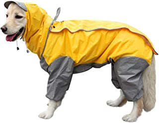 OAK 中型犬 大型犬 レインコート カッパ 犬用合羽 丸ごと包み 繰り返し洗える 梅雨 汚れ防止 濡れない (26号, 黄色い)