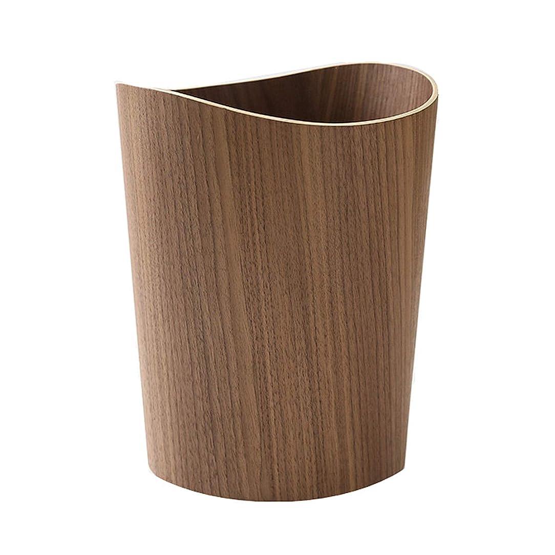 コショウぼかす暴行【木製ゴミ箱】ごみ箱 ダストボックス 上開き 木製ごみ箱 9L 【丸/ダークブラウン】 ダストボックス コンパクト リビング くず入れ ゴミ入れ (ダークブラウン)