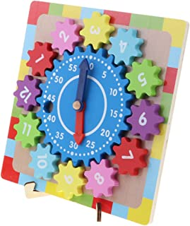 CUTICATE Wooden Numbers Block Colorful Puzzle Clock Baby Preschool Educational Toys