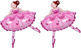 TOYMYTOY 32 Inch Dancing Ballerina Shaped Mylar Balloon Dancer Foil Balloons Ballet Girl 2 Pcs