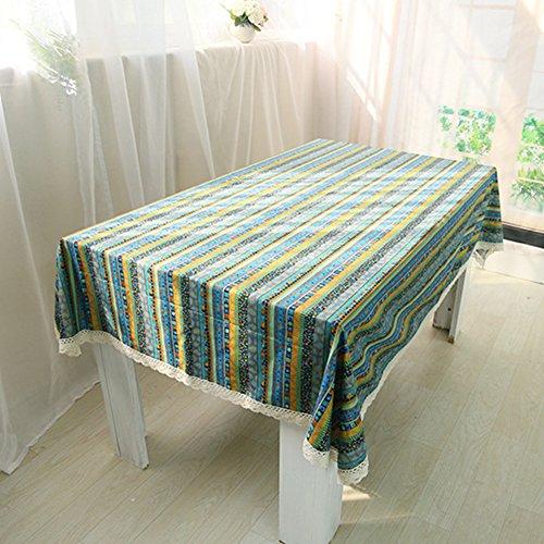 Paracity rectangulaire style bohémien Nappe Coton élégant Nappe pour restaurant de cuisine salle à manger Décoration de fête, Green, 140x250CM