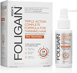 FOLIGAIN Triple Action Complete Formula for Thinning Hair For Men with 10% Trioxidil (2oz)