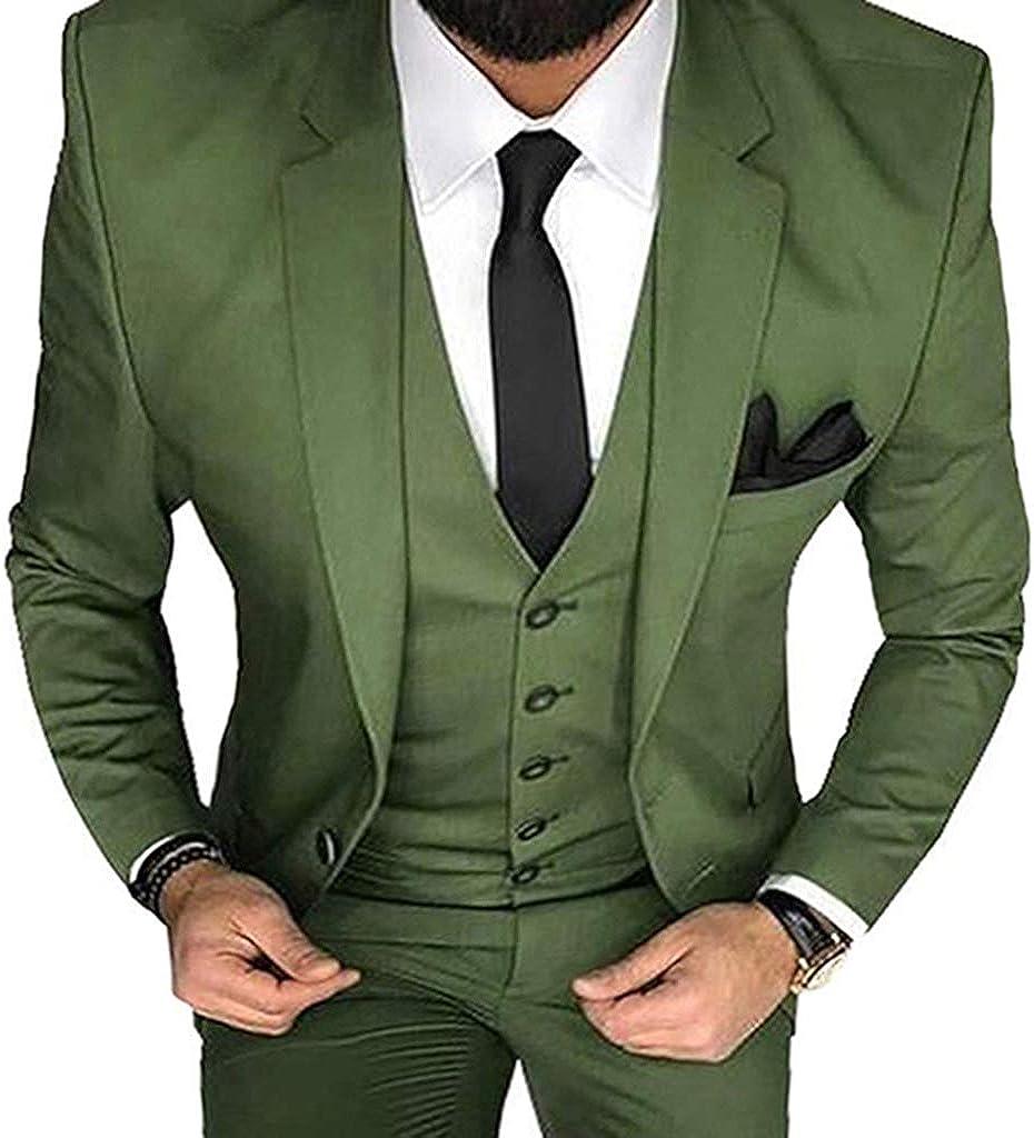 Zeattall Men's Suit Slim Fit Wedding Groom Tuxedos Notched Lapel Blazer 3 Pieces Bridegroom Prom Suits