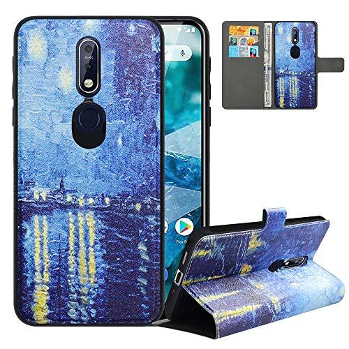 LFDZ Cover Nokia 7.1 2018 con [RFID Blocco],Custodia Nokia 7.1 2018 Cover con Staccabile Premium PU Pelle Portafoglio,Flip Wallet con Magnetico Case per Nokia 7.1 2018,Starry Night