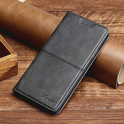 Custodia a portafoglio in pelle TPU per Xiaomi 5/Mi5 Custodia in silicone antiurto magnetico adsorbimento del raccoglitore della carta copertura 2 Card Solt Kickstand caso, nero