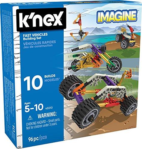 K'NEX 34696 - Bau- und Konstruktionsspielzeug Set Fast Vehicles, Baukasten Schnelle Flitzer mit 96 Teilen, Konstruktionsset für 10 Modelle, Bauset für Kinder von 5 bis 10 Jahre, Building Set