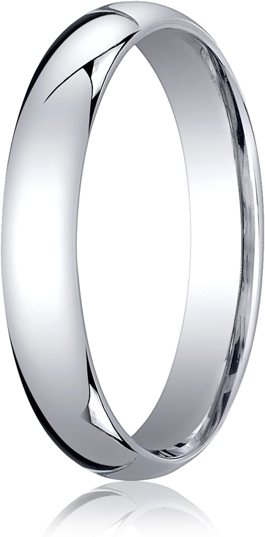 Men's 10K White Gold 4mm Slightly Domed Standard Comfort Fit Wedding Band Ring