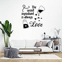 "Adhesivo decorativo para pared con texto en inglés ""The Secret Ingredient is Always Love"", de PVC, extraíble, para decorac..."