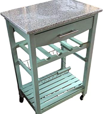 MSS Granite Top Kitchen Cart Storage Drawer Wheels Island Microwave Carts Trolley Home Casters Trolley Dining Room Utility Ca