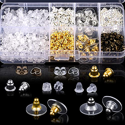 Earring Backs for Studs, 1040 Pcs 520 Pairs Earring Backings, Clear Earring Backs Rubber, Alloy Earring Backs Replacements with Box, Earring Stoppers for Any Style of Earrings (10 Styles)