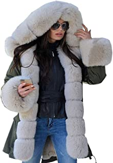 Pgojuni Womens Hooded Faux Fur Coat Long Sleeves Winter Jacket Parka Fishtail Overcoat 1pc