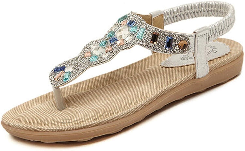 Jazlyn Women's Bohemian Bling Rhinestones Rubber Thong Flat Sandals