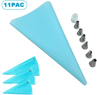Piping Bags and Tips-4 Reusable Piping Bags,Pastry Bags,Icing Bags-7 Piece Cake Pastry Decorating Set-Includes 6 Stainless Steel Icing Frosting Tips-1 Coupler (11 pice)