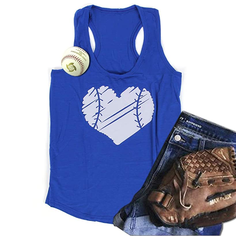 WARMHOL Baseball Racerback Tank Top Mom Sport Heart Print Graphic Casual Vest Blouse Tees