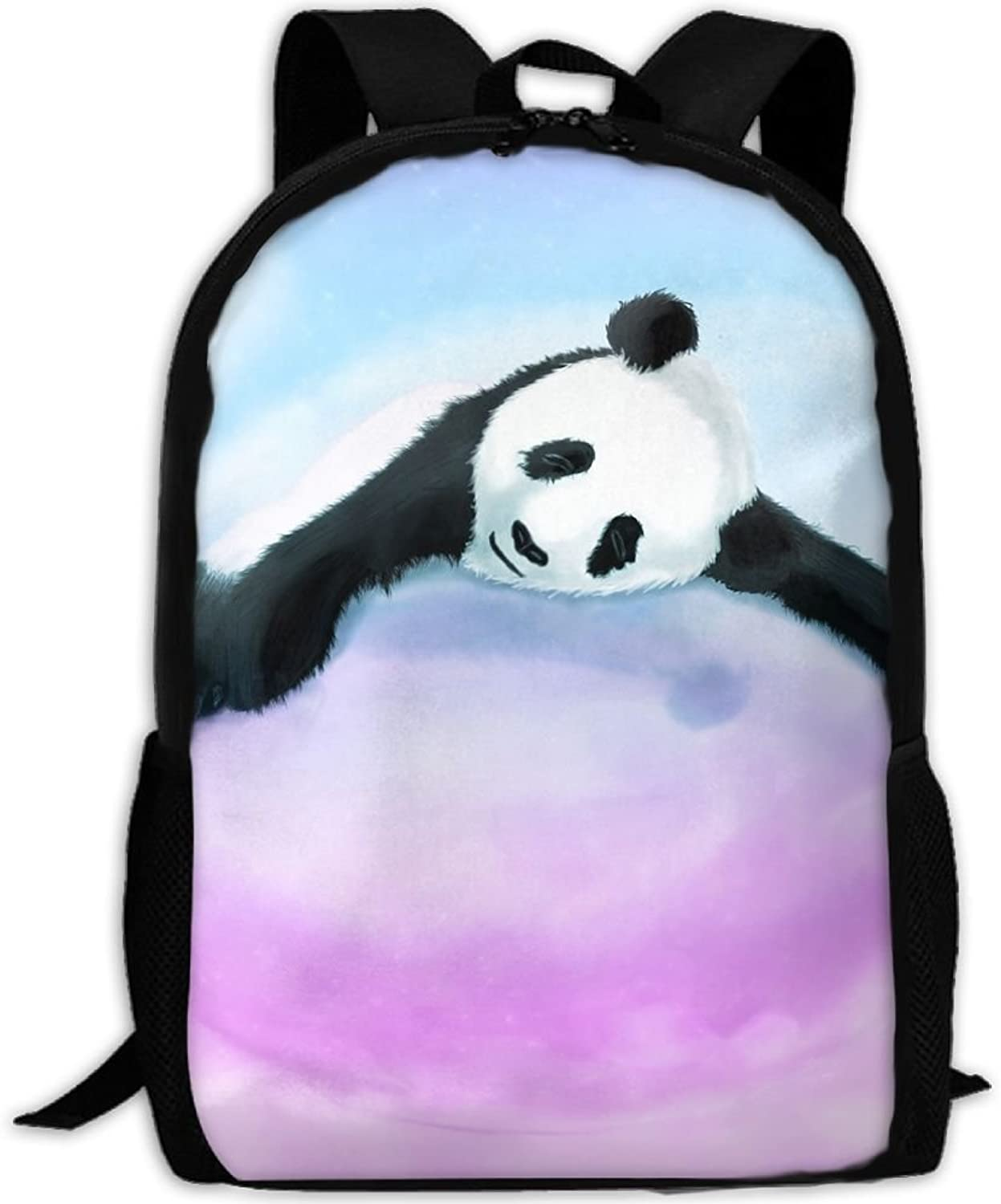 Adult Backpack Panda On Pink Clouds College Daypack Oxford Bag Unisex Business Travel Sports Bag with Adjustable Strap