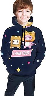 maichengxuan Lankybox Merch Lankybox - Sudadera con capucha unisex para niños, estampado 3D, con bolsillo