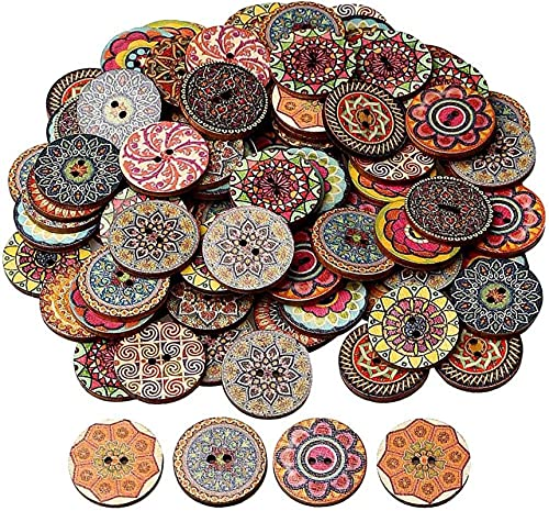 25MM Mixed Color Wood Buttons, EUBags Natural Round Shapes Retro Buttons, Vintage Buttons with 2 Holes for DIY Sewing-Default,r