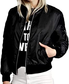 Womens Zip Up Bomber Jacket Long Sleeve Lightweight Casual Coat with Pocket