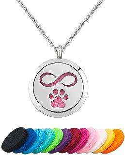 JewelryJo Cat Dog Pet Paw Print Love Heart Aromatherapy Essential Oil Diffuser Necklace Perfume Locket Pendants