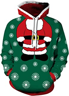 3D Funny Christmas Hoodie Printed Sweatshirt Ugly Sweater Long Sleeve Tops with Pocket for Men Women
