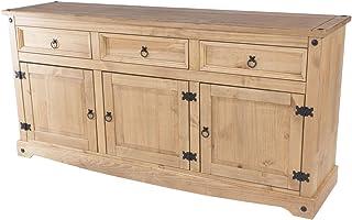 Design Vicenza Corona - Aparador grande (madera de pino acabado en mate cera envejecida)