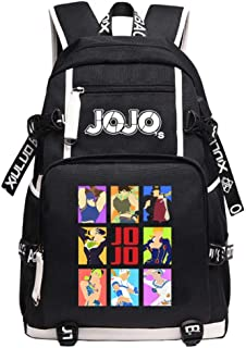 JoJo's Bizarre Adventure Kujo Jotaro Anime Backpack Mochila Escolar Mochilas Escolares Impermeables Carga USB Mochila para Portátil Mochila De Viaje Unisex