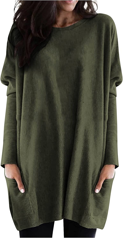 NAZSVG Women Fashion Casual Long Sleeve Patchwork Pockets O-Neck