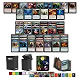 Totem World Magic The Gathering Holiday Lot: 5 Rares, 100 Uncommon / Common MTG Cards with a Totem Mini Binder & Deck Box Storage Builder Gift Box