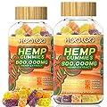 HOOLOO Hemp Gummies, 800,000MG Vegan Hemp Gummy Bears for Relaxing, Sleep Better, Reduce Stress Anxiety, Natural Hemp Extract Gummies, Made in USA (2 Pack)