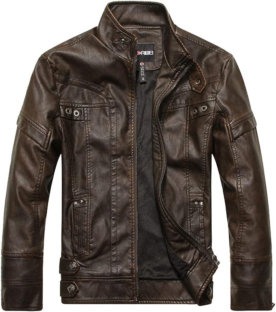 Autumn Winter Black Brown Leather Jacket Men Stand Collar Zipper Slim Biker Motorcycle Jacket