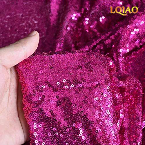 LQIAO 2019 fuchsiafarbener Paillettenstoff, elegant, schimmernd, für Duschvorhang, Schublade, Aufbewahrungswürfel, Meerjungfrauenschwanz, Hochzeitskleid, Heimwerkervorhang