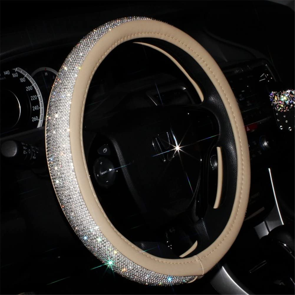 Beige Universal Non-Slip Crystal Steering Minneapolis Mall Cover with Cheap PU Wheel Le