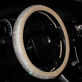 Beige Universal Non-Slip Crystal Steering Wheel Cover with PU Leather and Bling Diamond Rhinestones,Decorative Car Accessories case,15''