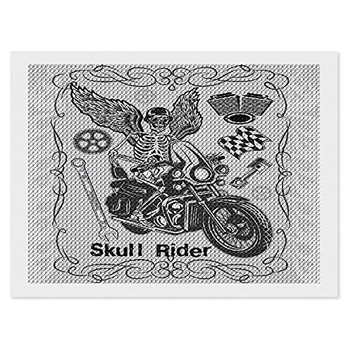 Kit de pintura de diamantes para adultos,Motocicleta Evil Hipster Dead Skull Skeleton Motorbike Rider Wings Drive to Hell Imagenbricolaje 5D diamante redondo bordado