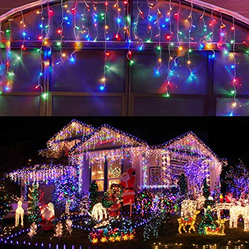 KiflyTooin Led Icicle Lights Outdoor Christmas Decorations Lights 400LED 8 Modes Icicle Christmas Lights, Outdoor Fairy String Lights for Party, Holiday, Wedding Decorations (Multicolor)