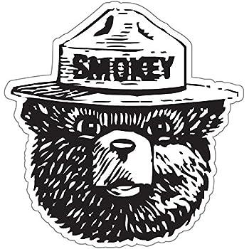 """Pride Sticker StickyChimp Smokey the Bear Firefighting WILDFIRE sticker 4"""" x 4"""",Black"""