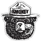 StickyChimp Smokey the Bear Firefighting WILDFIRE sticker 4' x 4',Black