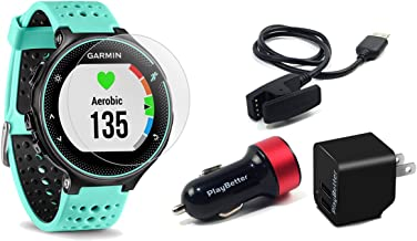 Garmin Forerunner 235 (Frost Blue) GPS Running Watch Bundle | with HD Screen Protector Film (x4) & PlayBetter USB Car/Wall Adapters | On-Wrist Heart Rate | Elevate Heart Rate Technology | VO2 Max