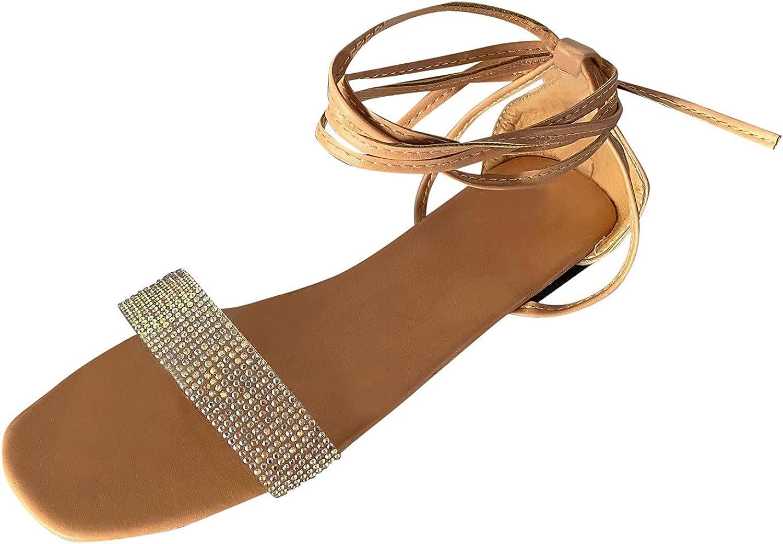 Women's Sandals Rhinestone Sliders Ankle Strap Block Wide Width Open Toe Pumps Stiletto Heeled Dress Flat Platform Wedge Flip-Flops