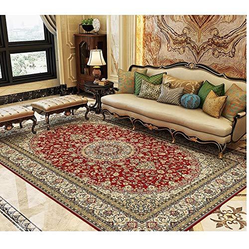 CCTYJ Borde Border Oscuro Rojo Tradicional Patrón de Costura Puede ser Aire Acondicionado y Transpirable Dormitorio Sala de Estar Sala de Estar alfombra-80x160cm Calidad Precio relación
