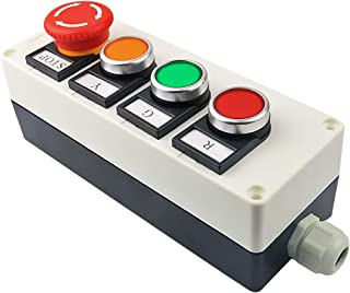 Nxtop Red Yellow Green Momentary Switch, Red Mushroom Emergency Stop 1NC 1NO Latching Push Button Station Switch Pushbutton Switches 440V 10A
