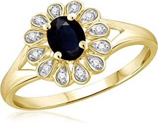 Jewelexcess 0.30 Carat T.G.W. Sapphire and 1/20 CTW White Diamond 14kt Gold Over Silver Ring